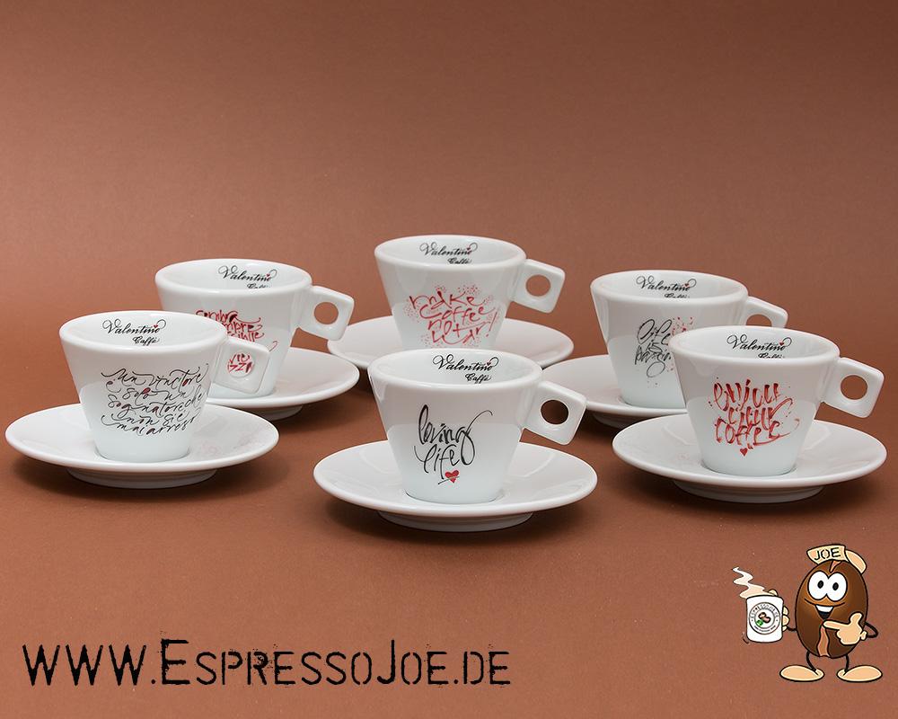 valentino genuss in 6 cappuccino tassen mit logoprint. Black Bedroom Furniture Sets. Home Design Ideas